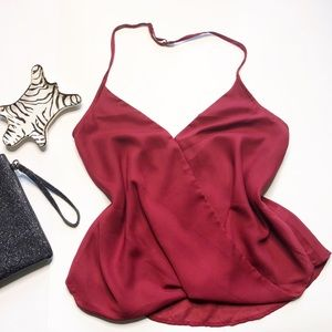 Tops - NWT Wine Halter Top with adjustable straps